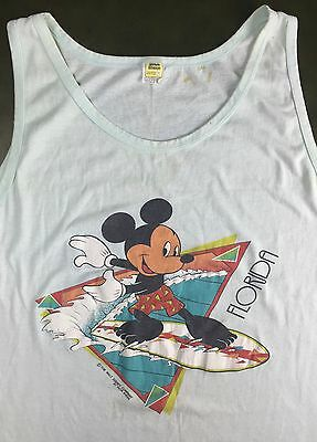 Vintage Mens XL 70s 80s Disney Mickey Mouse Florida Velva Sheen Thin Tank Top