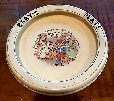 Roseville Pottery (?) Tom the Piper's Son - Child's Baby Feeding Bowl Circa 1915