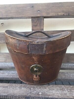 Vintage leather top hat box By R W Forsyth