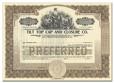 Tilt Top Cap and Closure Company Stock Certificate (Topless Vignette)