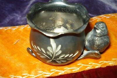 """ANTIQUE ETCHED SILVERPLATE TOOTHPICK?HOLDER BIRD ON WISHBONE~SIGNED~1 3/4"""" x 3"""""""