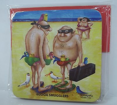 coasters-BUDGIE SMUGGLERS(Sue Janson) set of 2