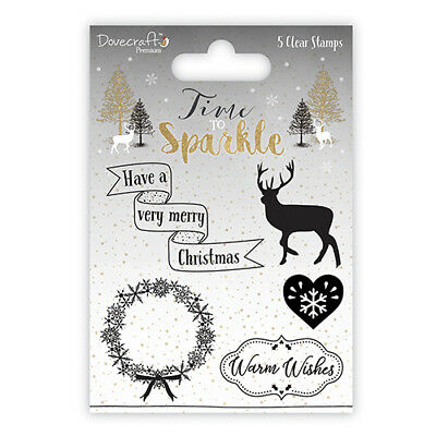 Dovecraft ~ Time to Sparkle (2017) ~ Clear unmounted Stamp ~ 5 stamps