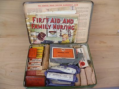 Vintage Old Large Size Medical First Aid Kit, Old Medical Kit Tin 'full' (F159)