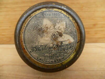 Vintage Old Rare Launceston Tasmania Jacksons Medical Tin, Old Tin (C24)