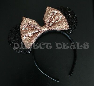Minnie Mouse Ears Headband Shiny Black Sparkly Rose Gold Bow For Adult Kids CUTE
