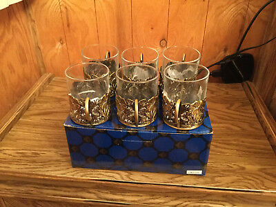 Lovely Vintage Looking Tea Cup Holder Set With Glass Inserts New in Box