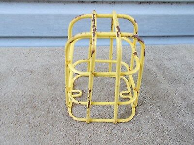 Vintage Yellow Wire Steel Cage Steampunk Basket Factory Industrial Guard