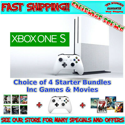 XBOX ONE S SLIM CONSOLE 500gb /1tb | Pick your Starter Bundle with Games Movies