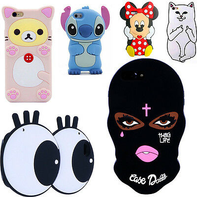3D Mask Stitch Bear Soft Silicone Phone Case For iPhone 5 6 7 8 Samsung S6 S7 LG