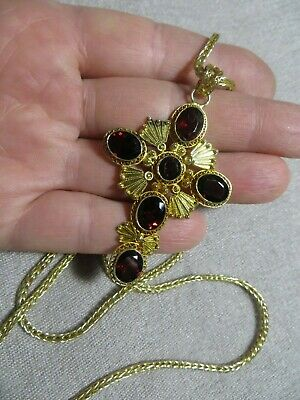 Victorian /Art Deco Gold Wash sterling Filigree Bohemian Garnet Cross necklace