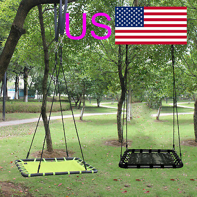 "40""L x 30""W Multi-Color Tree Platform Swing, Nylon Rope and Padded Steel Frame"