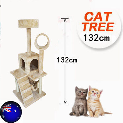 Cat Scratching Post Furniture Tree Tower 132cm Condo Scratcher Pole House Gym