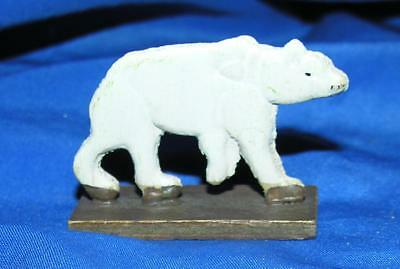 Vtg 1920S Erzgebirge German Wood Flatzie Miniatures Xmas Putz Polar Bear Figure