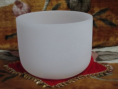 New Frosted Quartz Crystal Singing Bowl 8'' B Musical Note Crown Chakra
