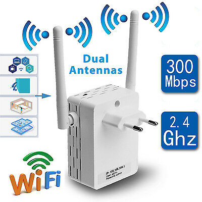 300Mbps WiFi Range Extender Wireless-N Repeater Signal Booster Router Antenna