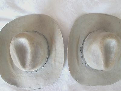 "2 Western Weathered Gray Resin COWBOY HAT PAPERWEIGHTS W/Concho Bands 5""x 2"" NEW"