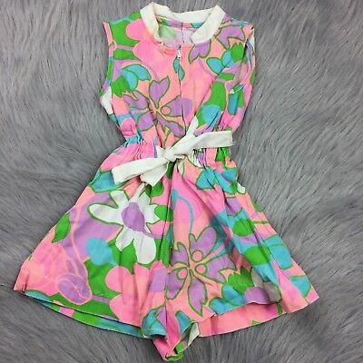 Vintage Toddler Girls 60s Groovy Mod Pink Floral Romper Playsuit