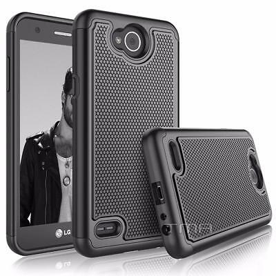 Fits LG X Power 2 Case Shockproof Rubber Heavy Duty Impact Hybrid Cover - Black