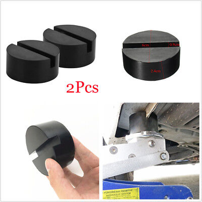 2Pcs Black DIY Car SUV Slotted Frame Rail Hydraulic Floor Jack Disk Rubber Pad