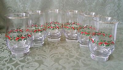 6 Arbys Christmas Holiday Holly Berry Ribbon Tumbler Glasses W/ Gold Trim