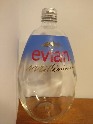 EVIAN Millenium Large Glass Collectible Water Bottle Special Edition 1999-2000