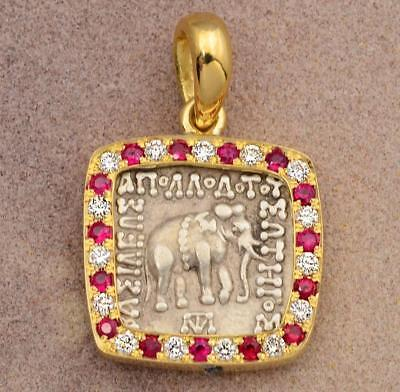Ancient Baktria Silver Drachm Elephant Coin in 18kt Gold & Diamond Pendant