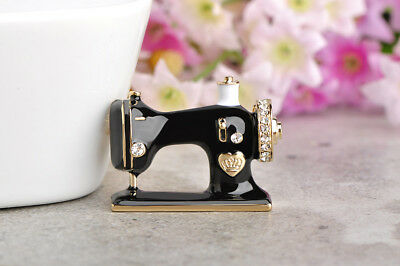 18K Gold Plated Black Enamel & Genuine Austrian Crystal Sewing Machine Brooch.