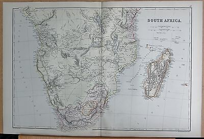 1882 Large Antique Map - South Africa, Madagascar
