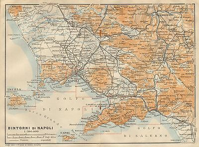 1912 Baedeker Antique Map- Italy- Environs Of Naples