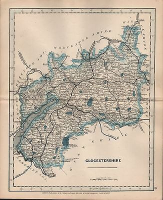 1875 Antique Cruchley County Map Railways, Stations Glocestershire Bristol Stow