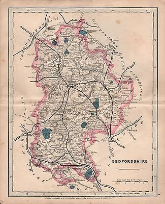 1875 Antique Cruchley County Map Railways, Stations Bedfordshire Ampthill Dunsta