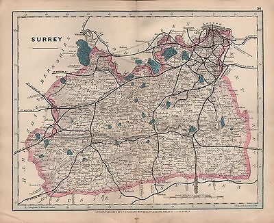 1875 Antique Cruchley County Map Railways, Stations Surrey Reigate Chertsey