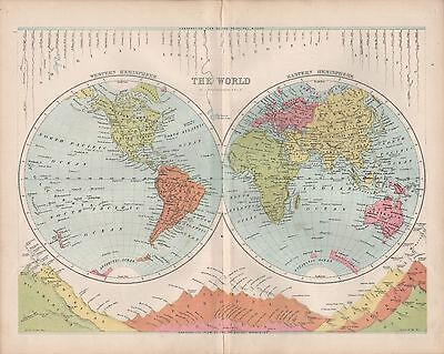 1875 Antique Map - World In Hemispheres, Principal Rivers And Mountains