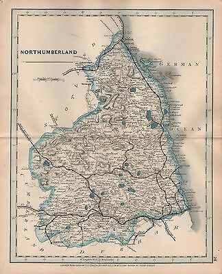 1875 Antique Cruchley County Map Railways, Stations Northumberland Alnwick Hexha