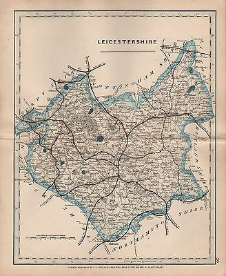 1875 Antique Cruchley County Map Railways, Stations Leicestershire Hinkley Melto