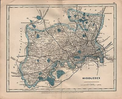 1875 Antique Cruchley County Map Railways, Stations Middlesex Staines Enfield