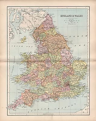 1875 Antique Map - England & Wales -  Railway Map