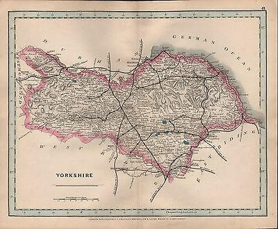 1875 Antique Cruchley County Map Railways, Stations Yorkshire North Whitby Askri