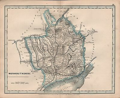 1875 Antique Cruchley County Map Railways, Stations Monmouthshire Newport Aberga