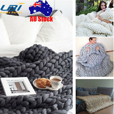 Handmade Chunky Knitted Blanket Throw Wool Thick Line Yarn Merino Home Decor