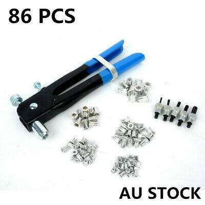 86pcs Nut Rivet Riveter Rivnut Nutsert Gun Riveting Kit M3-M8 Threaded Mandrels