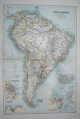 1900 Large Map South America, Inset Of Rio, Valparaiso, Buenos Ayres