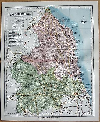 1884 Large Antique County Map Northumberland