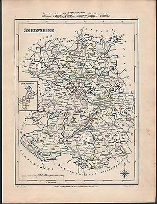 1848 Antique County Map -Shropshire Ludlow Wellington Drayton Oswestry Shifnall