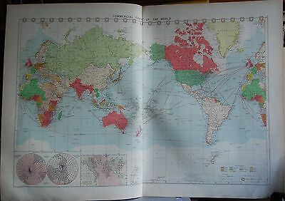1915  Large Antique Mercantile Map - Commercial Chart Of The World