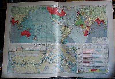 1915  Large Antique Mercantile Map - The Panama Canal, Effect On Ocean Routes
