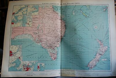 1915  Large Antique Mercantile Map - Eastern Australian And New Zealand Ports