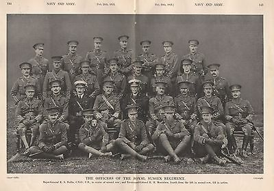 1915 Ww1 The Officers Of The Royal Sussex Regiment Double Page