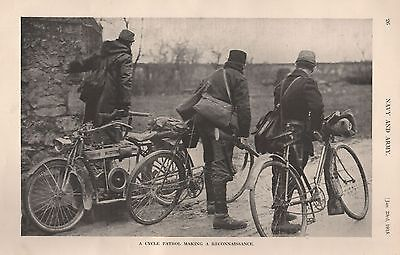 1915 Ww1 Cyle Patrol Making A Reconnaissance
